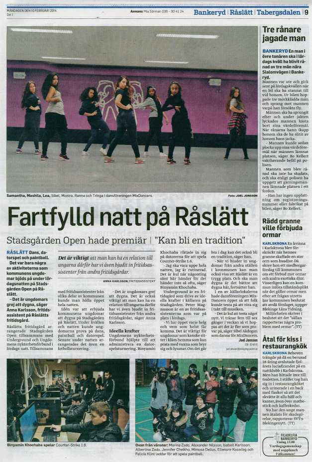 tidningsklipp Stadsgården Open